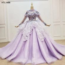 HTL1486 Jancember Party Gowns Purple Long Sleeve Elegant Applique Evening Dresses