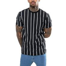 Men's Round Collar Jersey Casual Tshirt with Vertical Stripes Pattern
