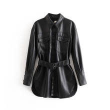 New design beautiful casual loose women long belted leather jacket