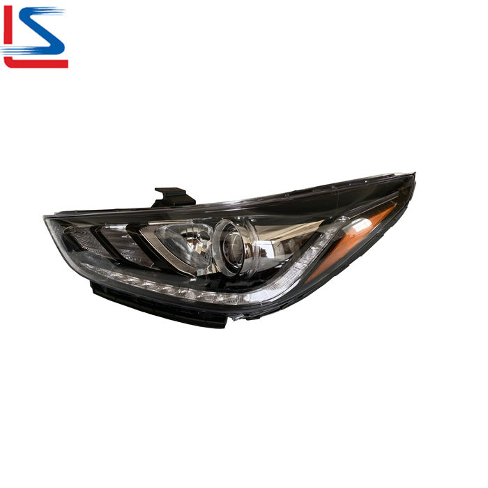 Auto LED Head Lamp for Hyundai ACCENT 2017 2018 2019 2020 BLACK LED WITH YELLOW CORNER 92101-H5000 92102-H5000 Headlight