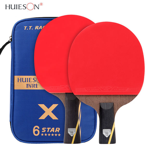 HUIESON A pair OEM Custom Professional 6 Stars Carbon Paddle Ping Pong Bat Set Table Tennis Racket