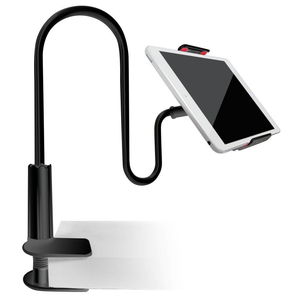 Cellphone & Tablet 2 in 1 Stand Holder Clip with Grip Flexible Long Arm Gooseneck Bracket Mount Clamp Compatible with Pad/iPhone