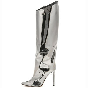 Women Patent Leather Silver Gold Pointed Toe High Heels Long Boot Knee High Boots