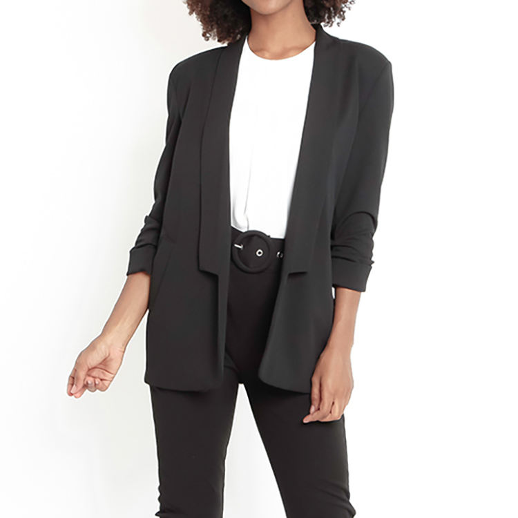 Italy OEM good quality office blazer women black jacket for wholesale