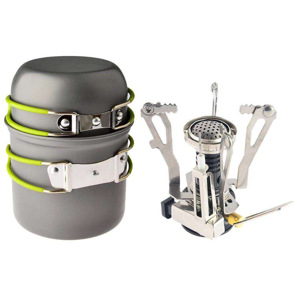 Camp Stove, Ultralight Portable Outdoor Camping Stove Hiking Backpacking Picnic Cookware Cooking Tool Set Pot Pan