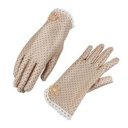 Women's Fashion Cotton Summer Gloves Lace Patchwork Gloves Anti-skid Sun Protection Driving Short Thin  Dot Women Gloves