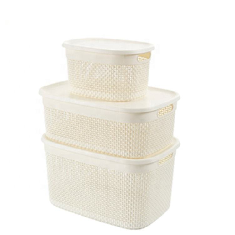 Manufacturers wholesale high quality plastic hollowed-out clothing storage baskets with LIDS