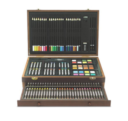 Deluxe Painting 142 Pieces Wooden Colored Pencil Crayons Watercolor Cakes Drawing Kit Children Art Case Portable Sets
