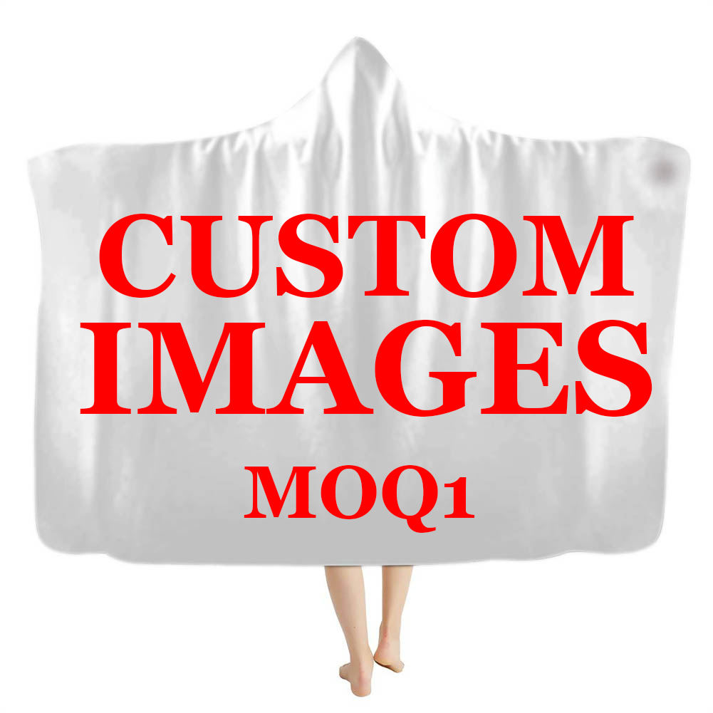 Custom Your Own Design/Logo/Image/Name/Text/Photo 3D Print Hooded for Adults Print On Demand MOQ1 Pcs Plush Hooded Blanket Warm