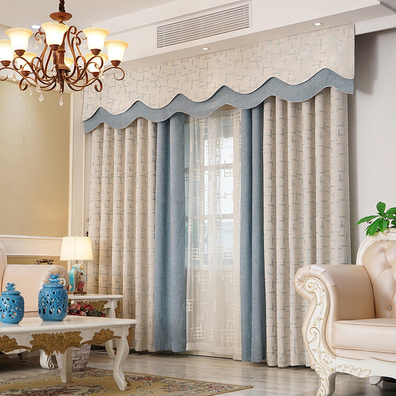 High Quality Luxury Jacquard Hotel Window Blackout Room Curtains Fabric With Valance
