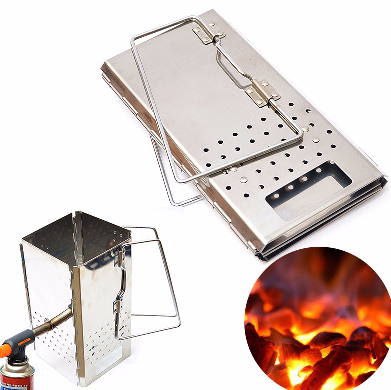 Portable Charcoal Starter Stainless Steel Outdoor BBQ Grill Foldable Chimney Starter Barbecue Folding Grill
