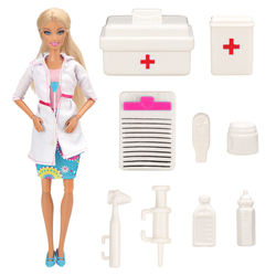 Fashion Handmade 10 Items/lot Dolls Accessories Random Kids Toys Doctor Play Set Game Suitcase Kits For Barbie Best DIY Gift
