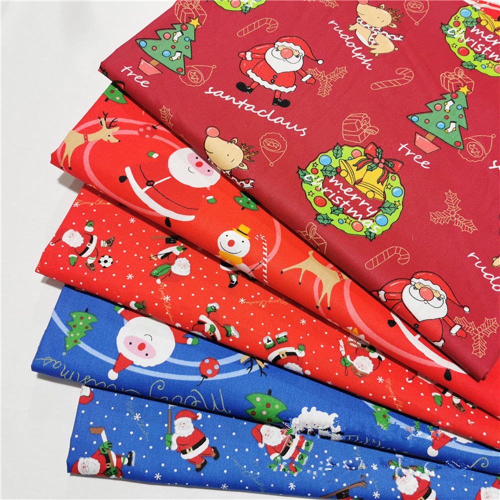 Red Blue Santa Claus Twill Cotton Cartoon Fabric Making Bedding Clothing Handmade Christmas Fabric