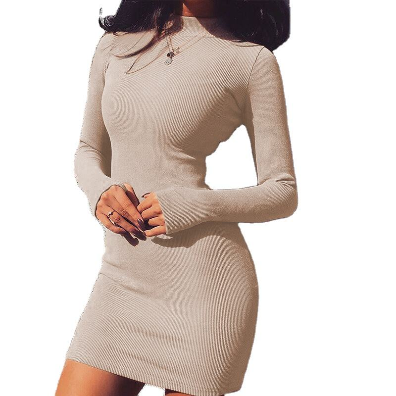 2020 Women Fashion Party Elegant Dresses Long Sleeve High Neck Bodycon Sexy High Waist Mini Dress