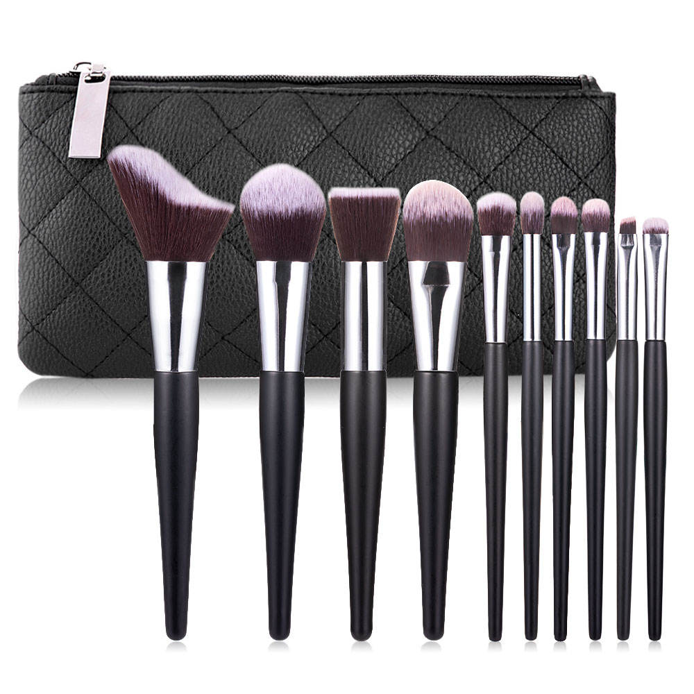 Hitam 10 Pcs Synthetic Hair <span class=keywords><strong>Makeup</strong></span> Brush Private Label Make Up <span class=keywords><strong>Sikat</strong></span> Grosir <span class=keywords><strong>Makeup</strong></span> Brush Set