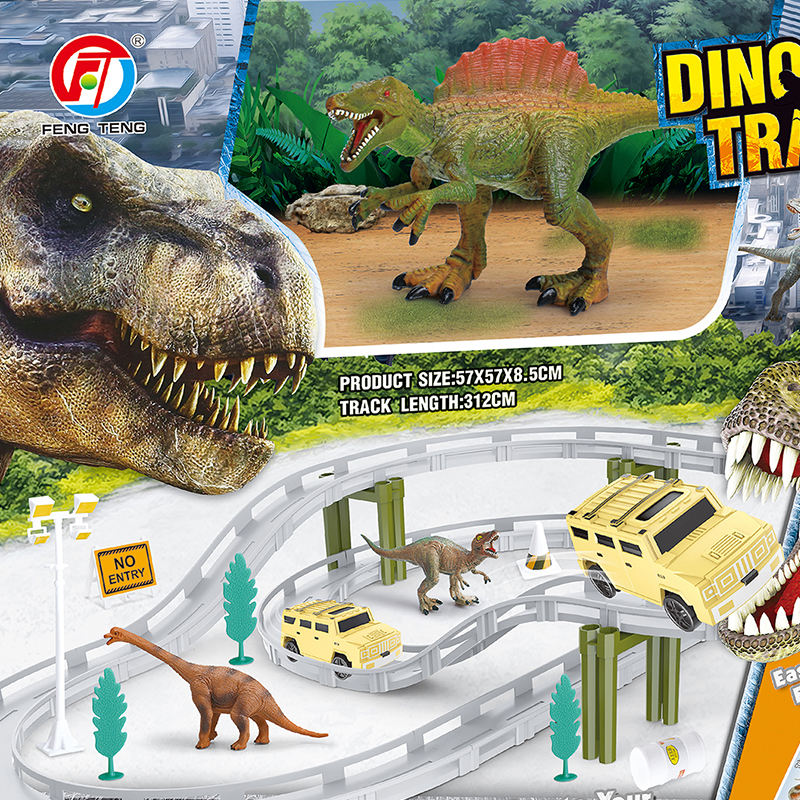 DIY Assemble Jurassic Dinosaur Race Track Set Electric Car Toy Railway Dinosaur 40 Track Pieces Animal Dinosaur Toys Race Track