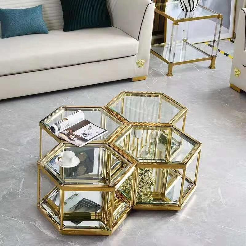 2019 New style stainless steel golden coffee table for living room glass center table set new design furniture for sale