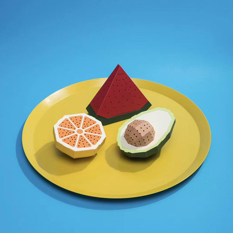 DIY watermelon Avocado orange design mini cute bluetooth paper box cone speaker