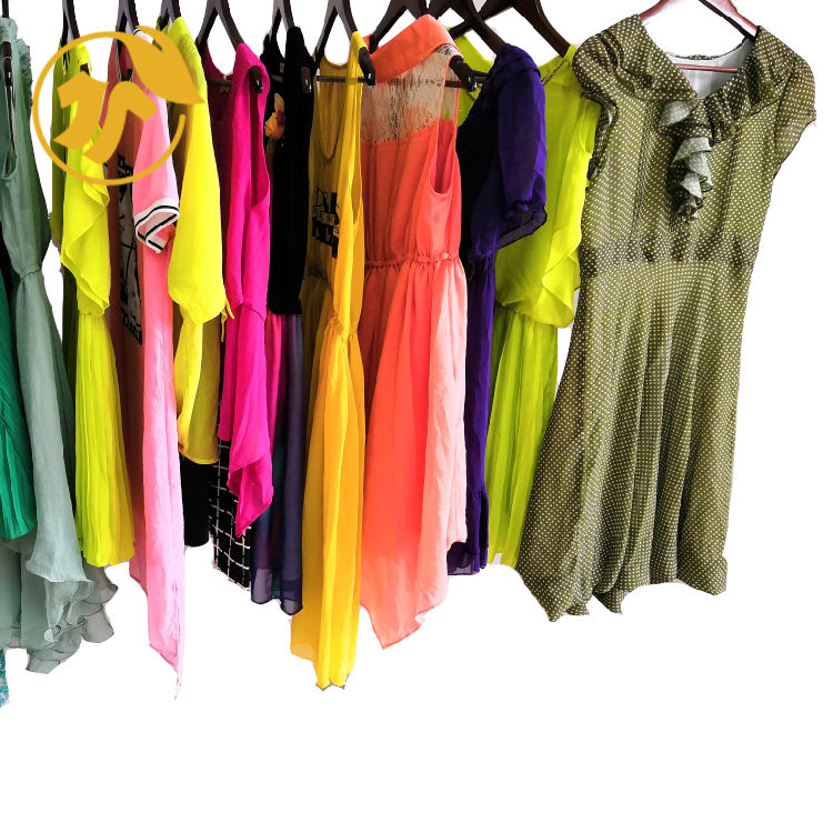 Casual comfortable second hand used clothing of Ladies Silk Dress used clothes in bales