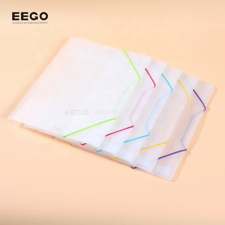 Clear pp plastic office stationery file folder with colored elastic band