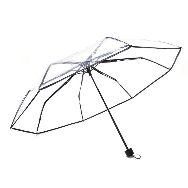 Wholesale custom LOGO clear umbrella transparent 3 folding umbrella