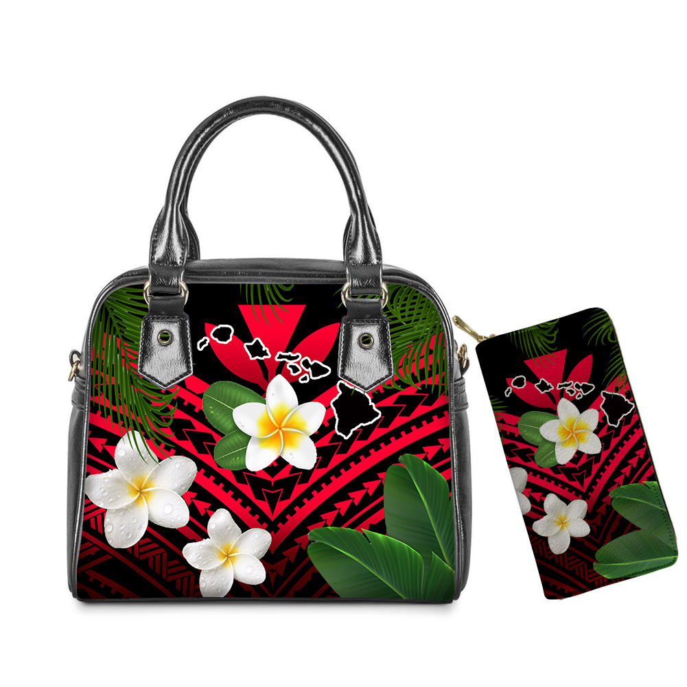 Hawaiian Flag Logo Hawaiian Islands Map Plumeria Flowers Mix Polynesian Tribal Printed Leather Tote Bag And Purses Set Wholesale
