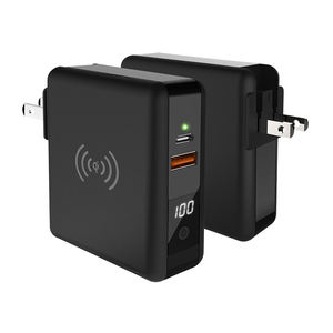 Free Sample Super Fast Charging QI Wireless 8000mAh PD Power Bank Smart Power Bank With Phone UK Wall Plug Black 8000mah