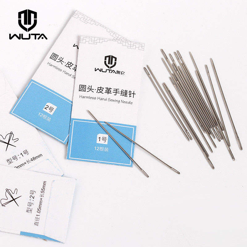 WUTA Leathercraft Sewing Needles Large Eye Blunt Stitching Needle Harness Round-pointed Needle Leather Hand Sewing Blunt