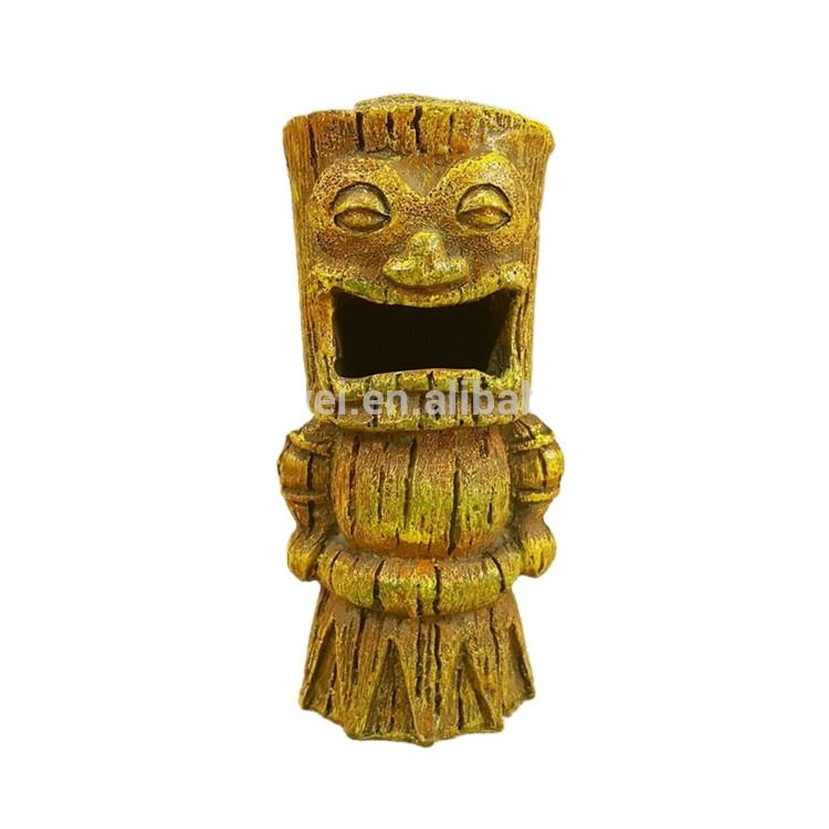 Wholesale Tiki Resin Figurine Totem Tree Trunk Open Mouth Home Decor