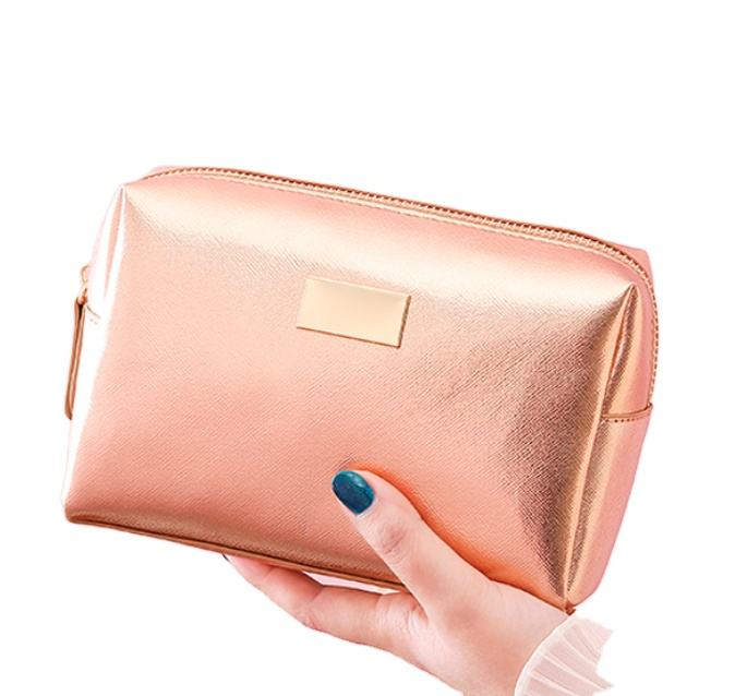 Luxury Modella Small Cross Stripe PU Leather Cosmetic Bag Women, Travel Rose Gold Makeup Bag Custom Private Label Metal Logo