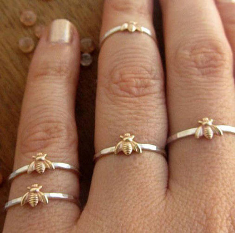 Customized cute animal rings gold and silver two tone plated small bee fine rings for girls