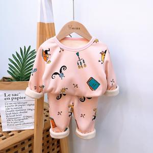 Wholesale Winter Kids clothes pajama  cute cartoon printing baby tops and pants inner fleece thermal underwear sets