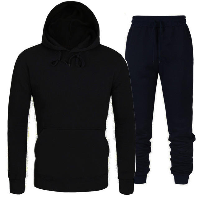 wholesale custom logo male sweatsuit casual sportswear blank fleece black pullover mens tracksuits