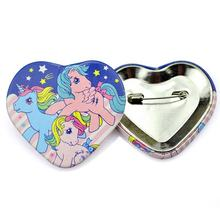 Custom heart shaped safety pin back advertising blank tin button badge