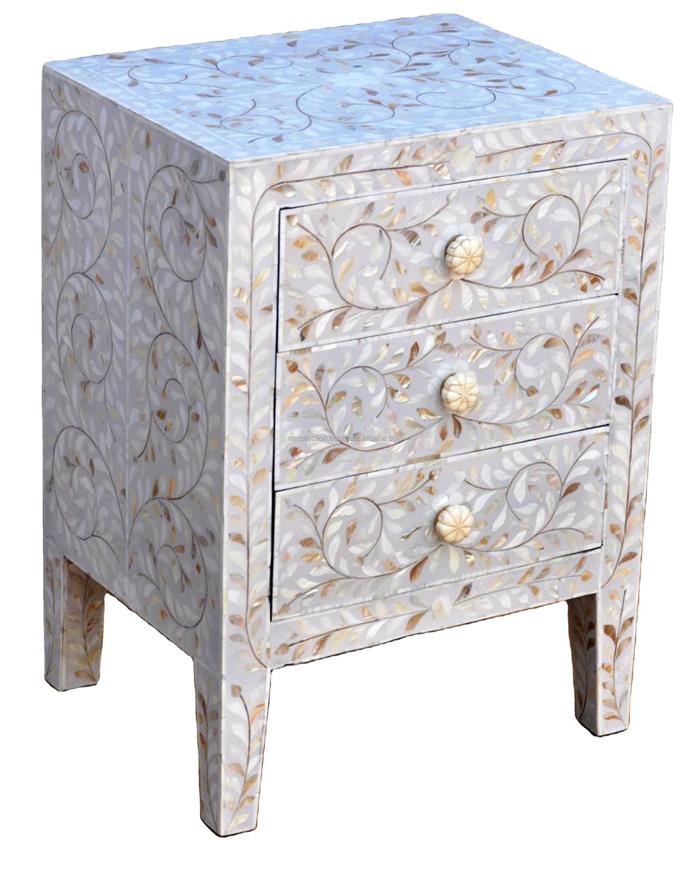 Handmade Mother Of Pearl Inlay Wooden Modern Floral Pattern Bedside/Side table/Nightstand with 3 Drawer Furniture