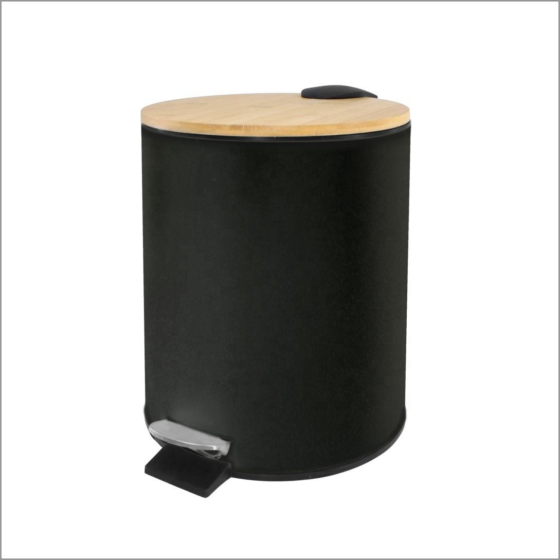 Household Round Trash Can Waste Bin Pedal Bin With Bamboo Lid