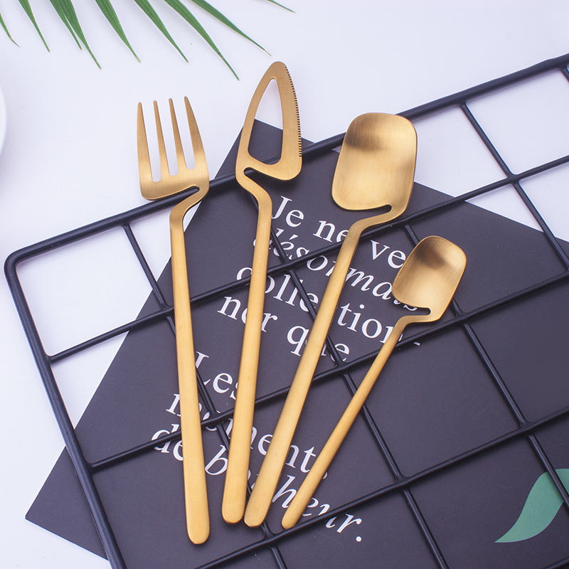 Creative matt gold flatware hanging cutlery table ware cutlery set dinnerware stainless steel
