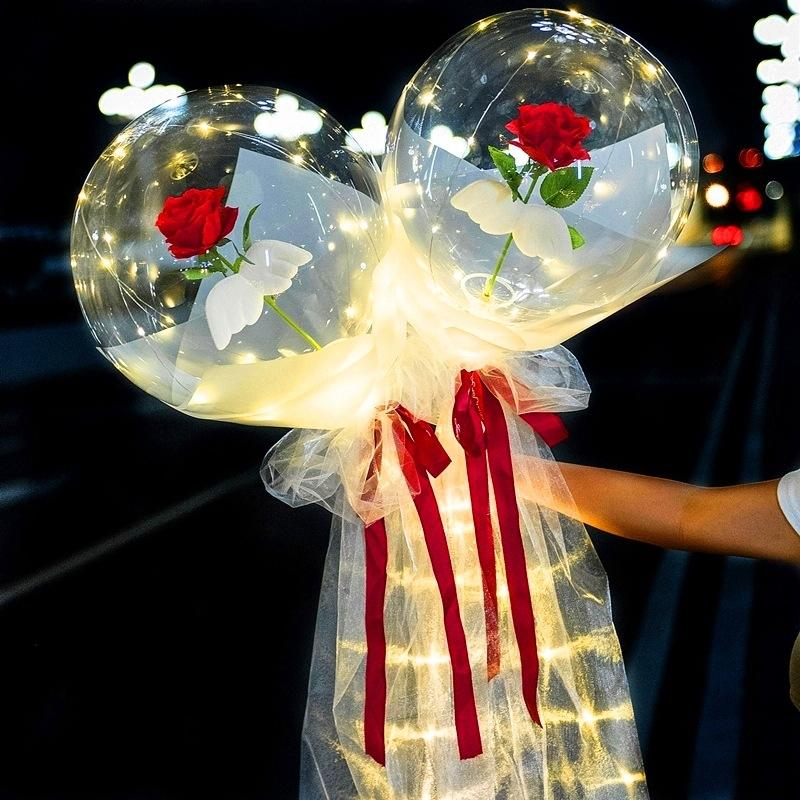 Valentines Gift transparent rose LED bobo balloon Valentines Day wedding decoration