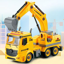 Hot Sale Kid Educational Car Toy Yellow Excavator Electronic Model Toy With Light and Music
