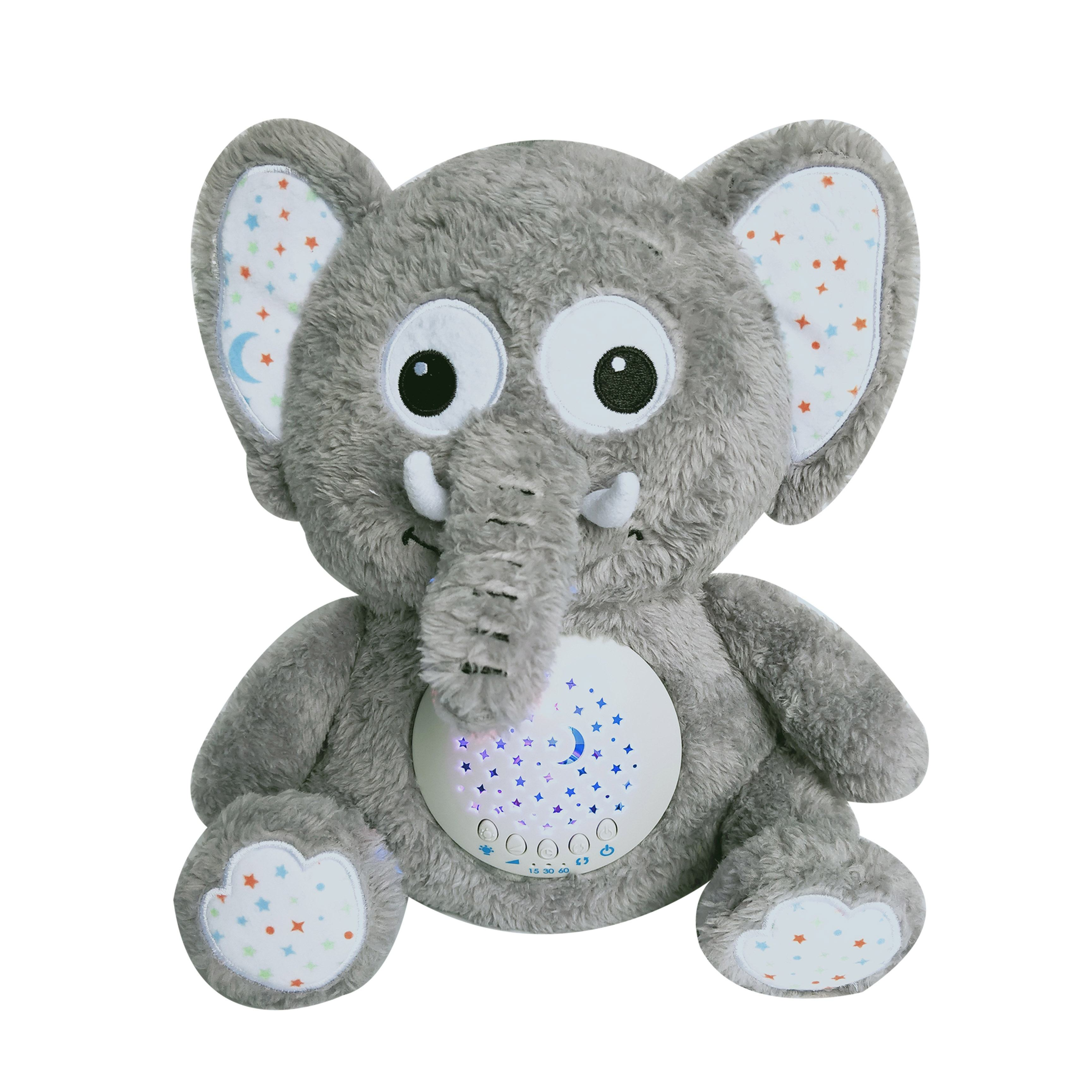 Soothing baby Sleep aid Elephant projector soother natural white sound to lullaby baby sleep animal stuffed toy
