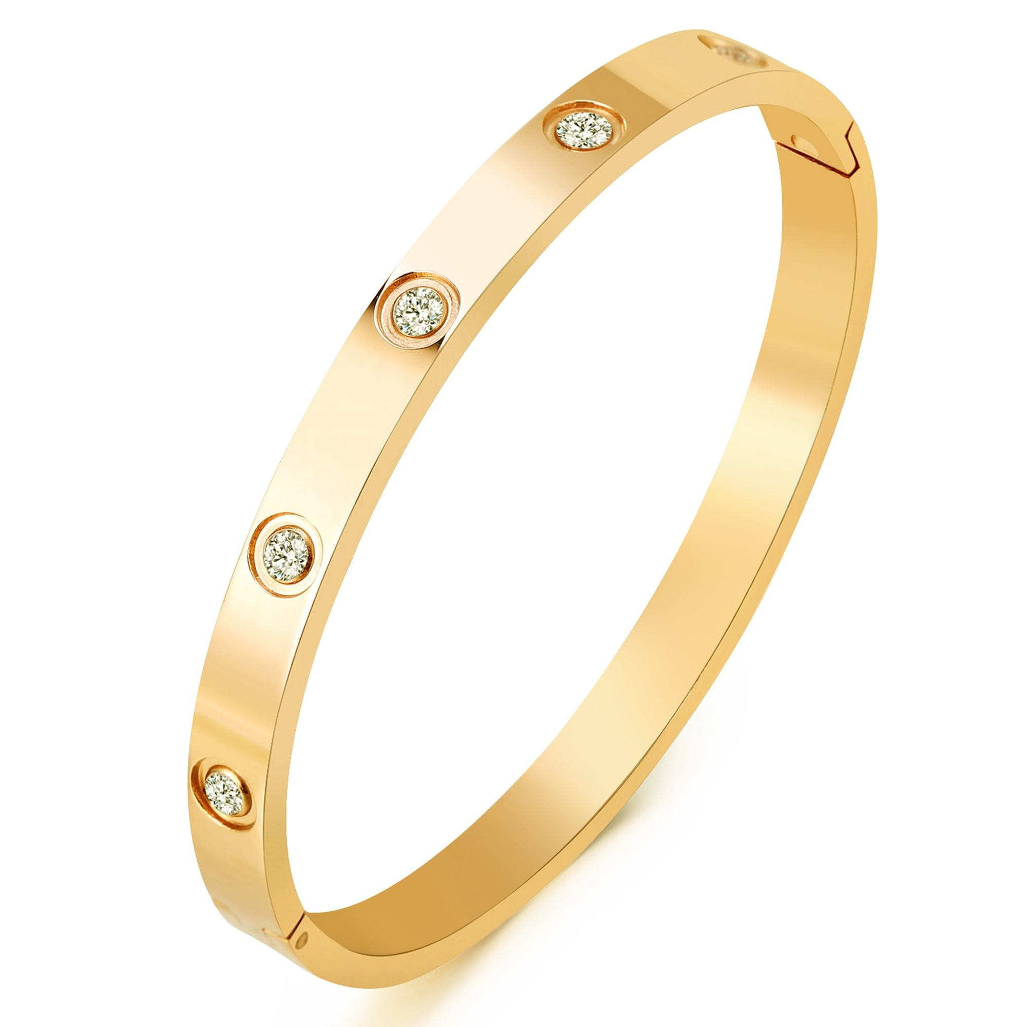 AD. Jewelry 18 K Gold Plated Bangle Bracelet CZ Stone Hinged Stainless Steel with Crystal Bangle for Women Size 6.7