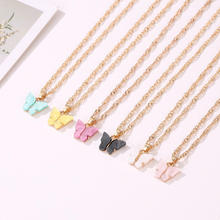 2020 Summer Fashion Ladies Design Colorful Mini Butterfly Pendant Necklaces For Women Korean Cute Chain Necklace Jewelry