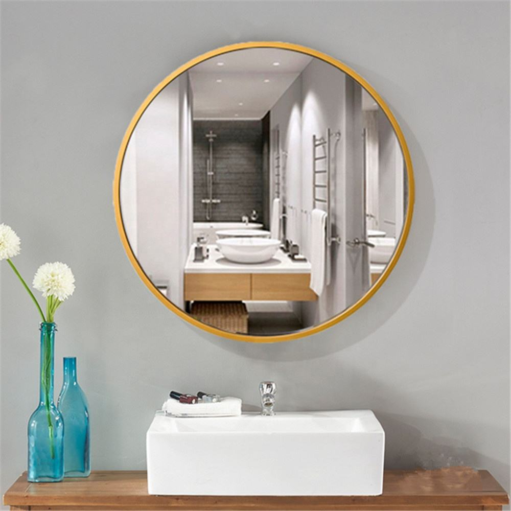 custom cut size shape gold metal frame round mirror for hotel bedroom