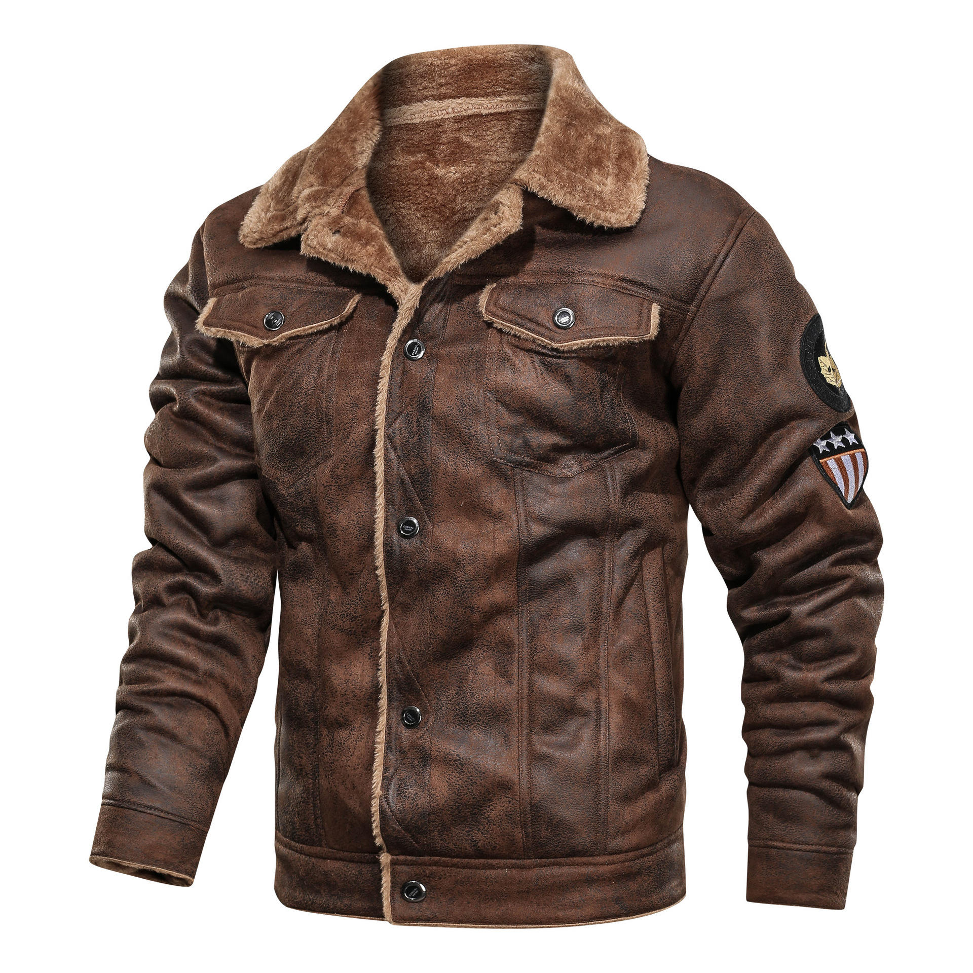 RTS Hot selling men jackets winter Lapel plus size Suede casual loose leather jackets men's