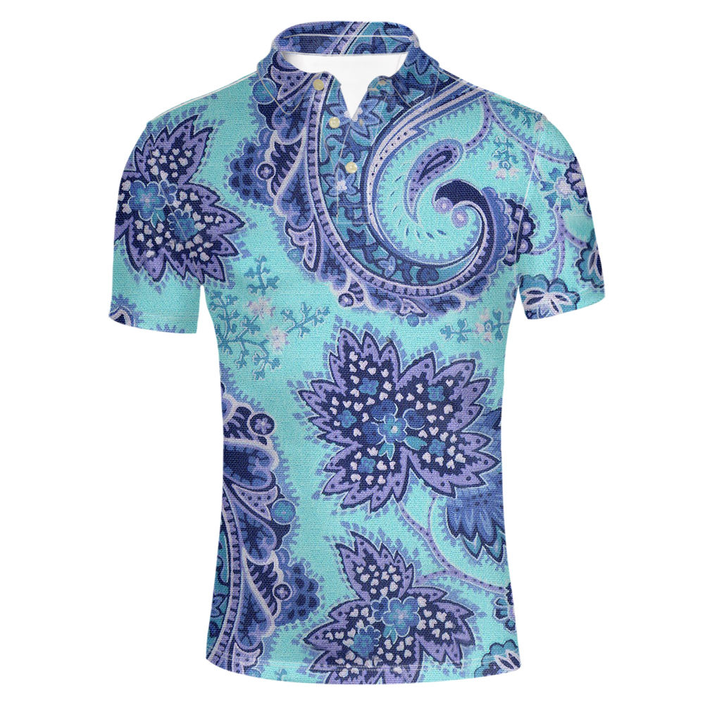 THIKIN Floral Chinese Clothing Printed Low Price Polos Plain Stylish Design Polos Undershirts Seamless Running Man's Polos