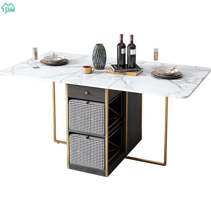 Dining Room Top Sintered Stone Dining Table 4 Chairs Foldable Table Movable Equipped with Wheel