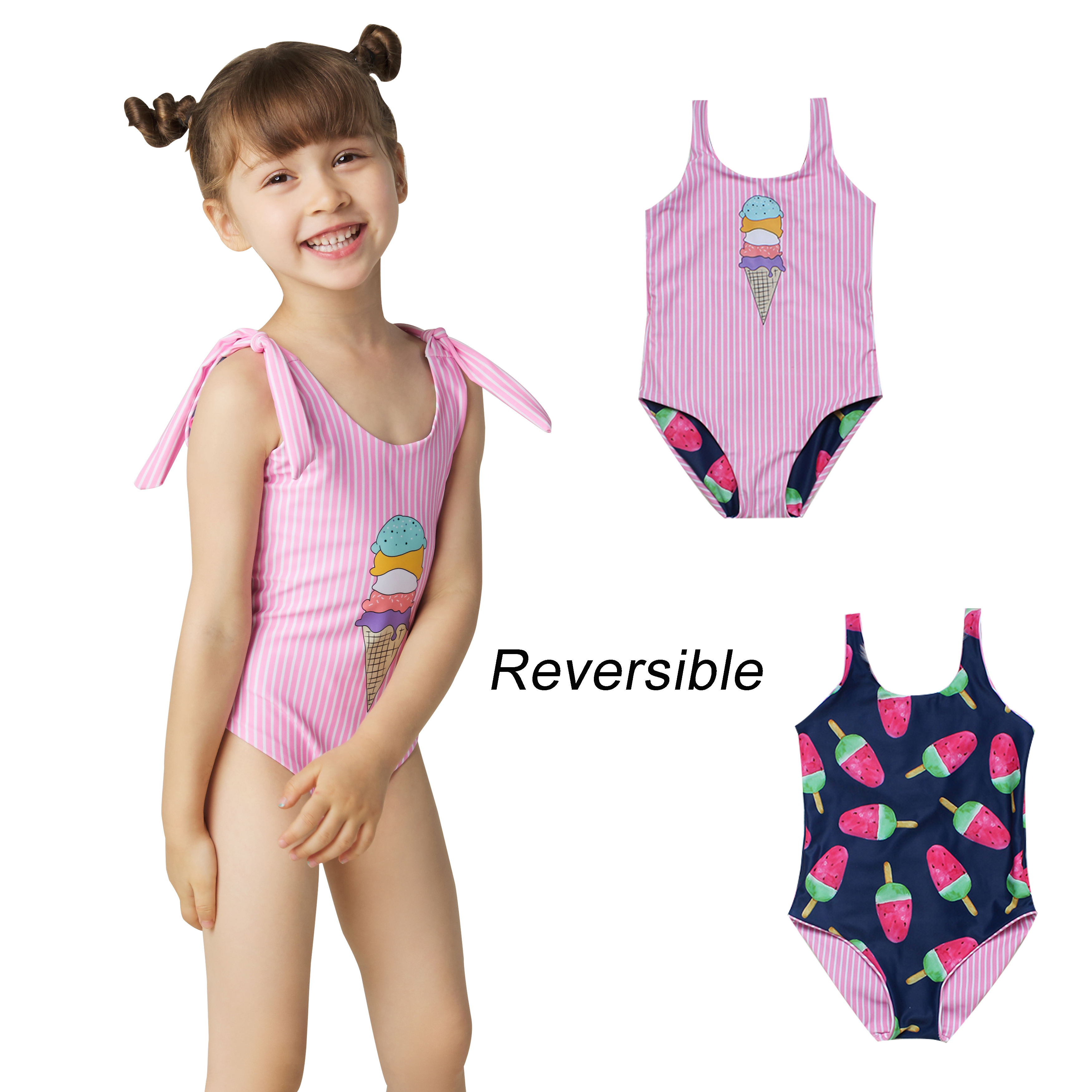 Reversible Children Swimsuit Custom One Piece For Girls Kids Swimwear