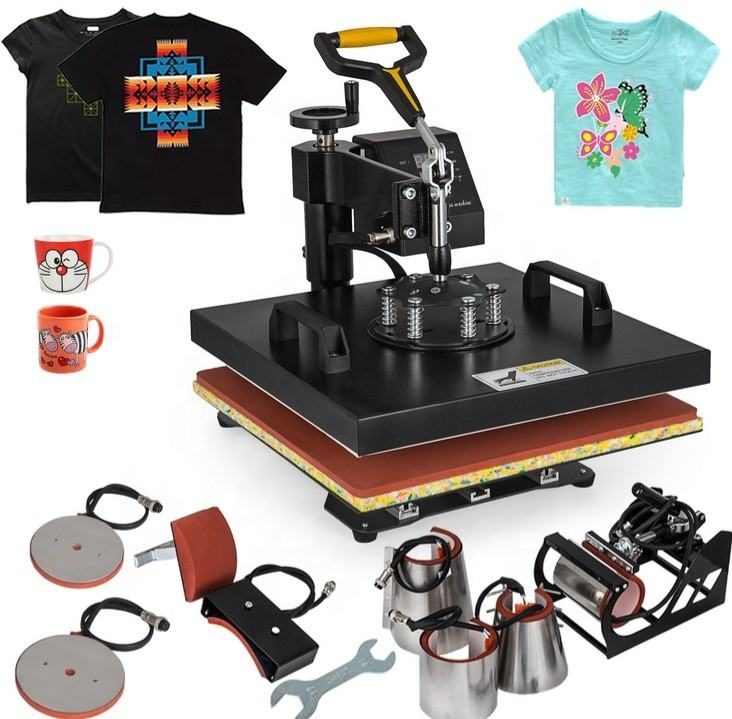 Doubl Display 38*38CM 8 in 1 Combo Heat Press Machine Sublimation Printer 2D Heat Transfer Machine for Cap Mug Plate Tshirts