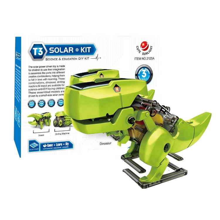 Educational Toys Science Kit 3 in 1 Solar Dinosaur Robot Desk STEM Robots For Kids