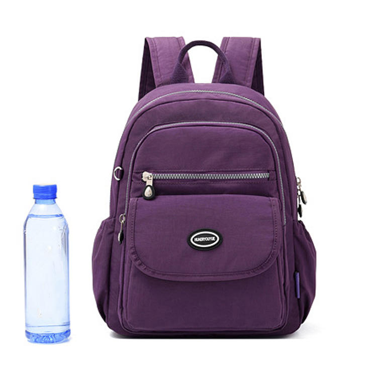 Custom Casual Lady Daily Bagpack College Bags Women Fashion Multi-pockets Purple Nylon Backpacks for Teen Girls